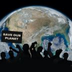 Political relationships. Activist people holding letters with words. Save our Planet, There is no Planet B with planet Earth in the background. Some elements of this image furnished by NASA.